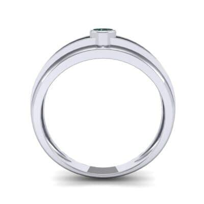 Striped Bezel-Set Emerald Ring (0.1 CTW) Side View