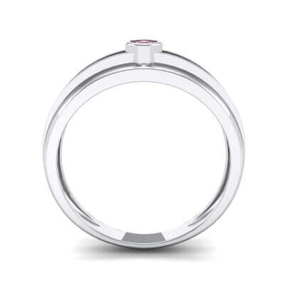 Striped Bezel-Set Ruby Ring (0.1 CTW) Side View