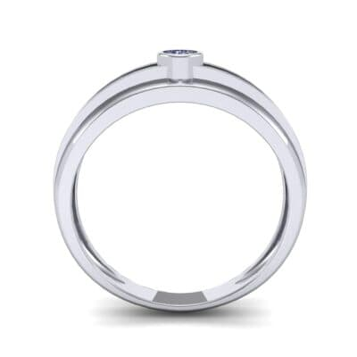 Striped Bezel-Set Blue Sapphire Ring (0.1 CTW) Side View