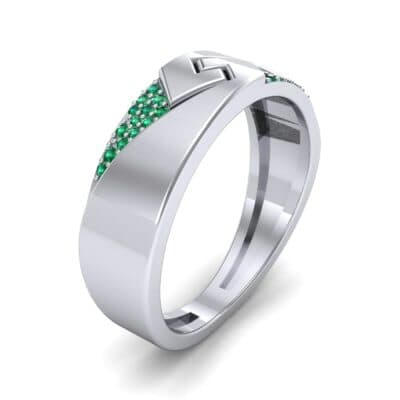 Pave Lock Emerald Ring (0.11 CTW) Perspective View
