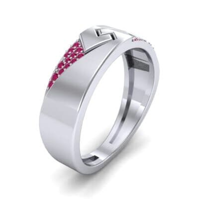 Pave Lock Ruby Ring (0.11 CTW) Perspective View