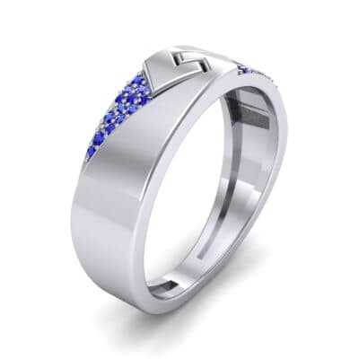 Pave Lock Blue Sapphire Ring (0.11 CTW) Perspective View