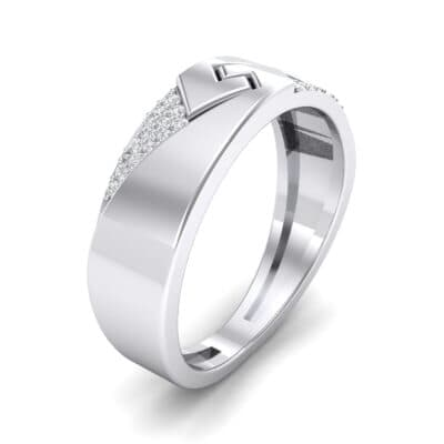 Pave Lock Crystal Ring (0.11 CTW) Perspective View