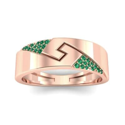 Pave Lock Emerald Ring (0.11 CTW) Top Dynamic View