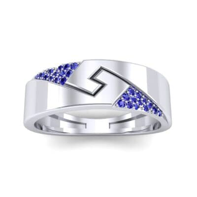 Pave Lock Blue Sapphire Ring (0.11 CTW) Top Dynamic View