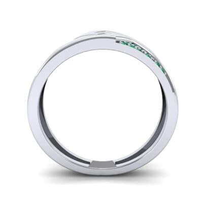 Pave Lock Emerald Ring (0.11 CTW) Side View
