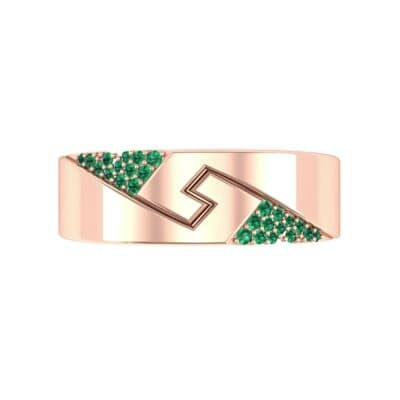 Pave Lock Emerald Ring (0.11 CTW) Top Flat View