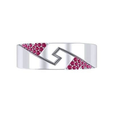 Pave Lock Ruby Ring (0.11 CTW) Top Flat View