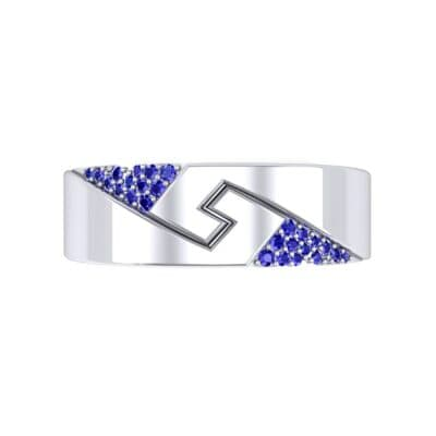 Pave Lock Blue Sapphire Ring (0.11 CTW) Top Flat View