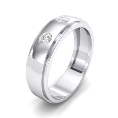 Three-Stone Bezel-Set Crystal Ring (0.33 CTW) Perspective View