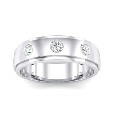 Three-Stone Bezel-Set Crystal Ring (0.33 CTW) Top Dynamic View