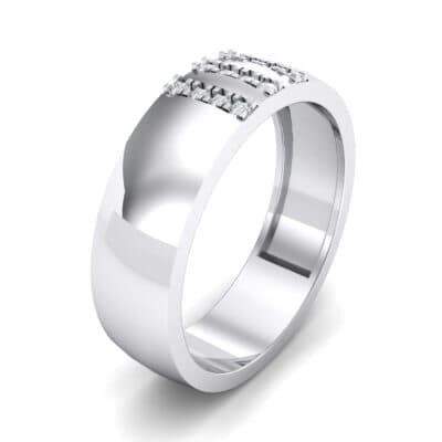 Wide Three Line Crystal Ring (0.12 CTW) Perspective View