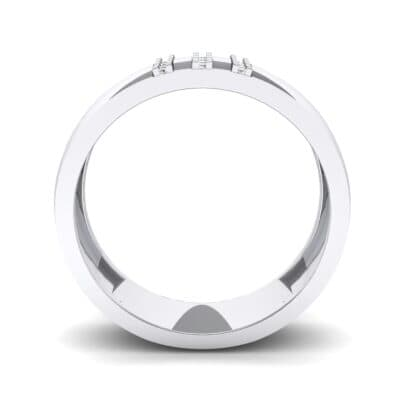 Wide Three Line Crystal Ring (0.12 CTW) Side View