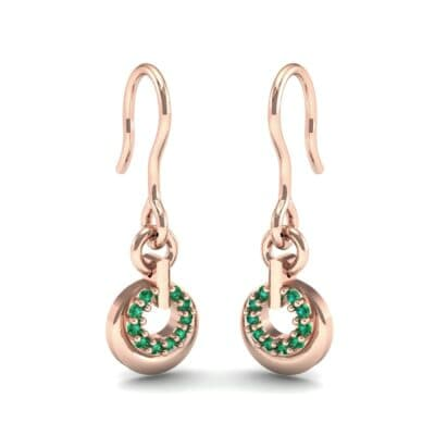 Pave Eclipse Drop Emerald Earrings (0.1 CTW) Perspective View