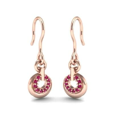 Pave Eclipse Drop Ruby Earrings (0.1 CTW) Perspective View