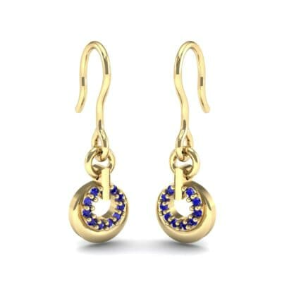 Pave Eclipse Drop Blue Sapphire Earrings (0.1 CTW) Perspective View