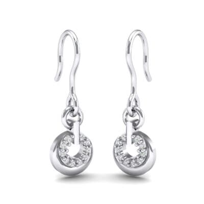 Pave Eclipse Drop Diamond Earrings (0.1 CTW) Perspective View