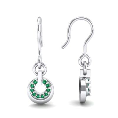 Pave Eclipse Drop Emerald Earrings (0.1 CTW) Top Dynamic View