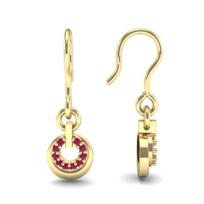 Pave Eclipse Drop Ruby Earrings (0.1 CTW) Top Dynamic View