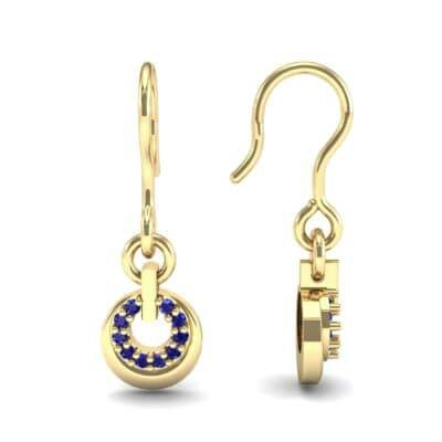 Pave Eclipse Drop Blue Sapphire Earrings (0.1 CTW) Top Dynamic View