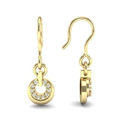 Pave Eclipse Drop Diamond Earrings (0.1 CTW) Top Dynamic View