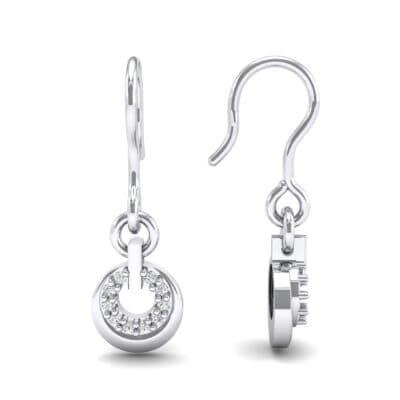 Pave Eclipse Drop Diamond Earrings (0.1 CTW) Top Dynamic View