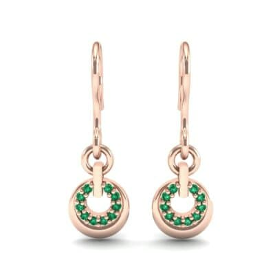 Pave Eclipse Drop Emerald Earrings (0.1 CTW) Side View
