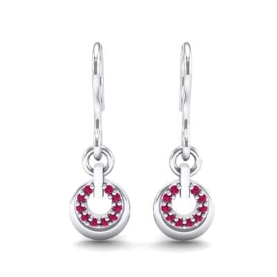 Pave Eclipse Drop Ruby Earrings (0.1 CTW) Side View
