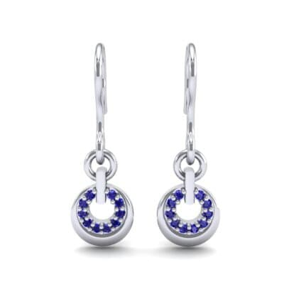 Pave Eclipse Drop Blue Sapphire Earrings (0.1 CTW) Side View
