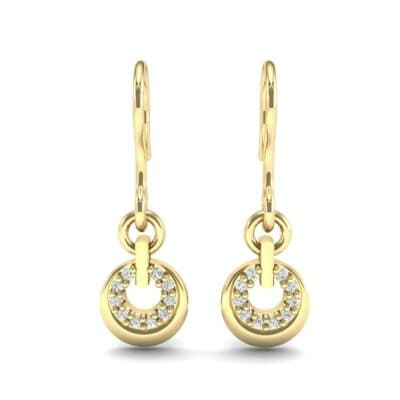 Pave Eclipse Drop Diamond Earrings (0.1 CTW) Side View