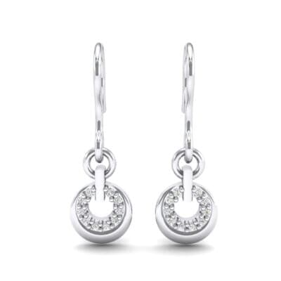 Pave Eclipse Drop Diamond Earrings (0.1 CTW) Side View