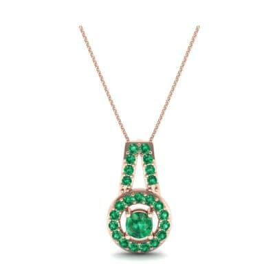 Pave Halo and Bail Emerald Pendant (0.4 CTW) Top Dynamic View
