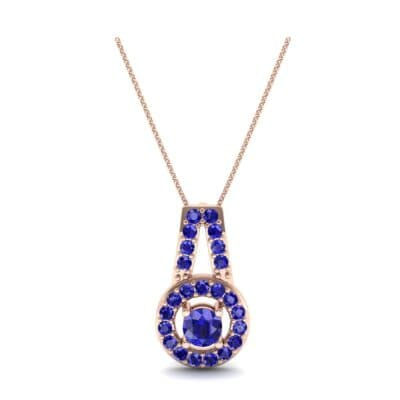 Pave Halo and Bail Blue Sapphire Pendant (0.4 CTW) Top Dynamic View