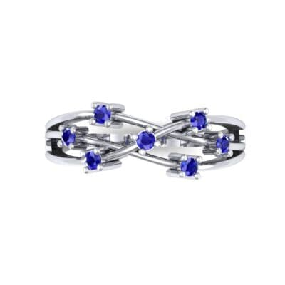 Barbwire Blue Sapphire Ring (0.12 CTW) Top Flat View