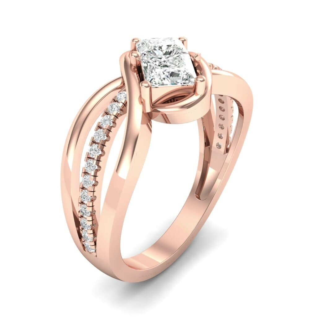 Two Stone Tangle Diamond Engagement Ring 0 94 Ctw Iconic