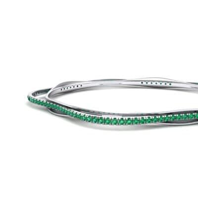 Thin Orbit Emerald Bangle (1.88 CTW) Top Dynamic View