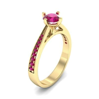 Pave Round-Cut Solitaire Ruby Engagement Ring (0.73 CTW) Perspective View