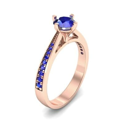 Pave Round-Cut Solitaire Blue Sapphire Engagement Ring (0.73 CTW) Perspective View