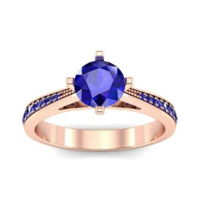 Pave Round-Cut Solitaire Blue Sapphire Engagement Ring (0.73 CTW) Top Dynamic View