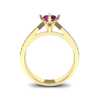 Pave Round-Cut Solitaire Ruby Engagement Ring (0.73 CTW) Side View