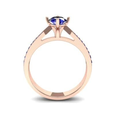 Pave Round-Cut Solitaire Blue Sapphire Engagement Ring (0.73 CTW) Side View