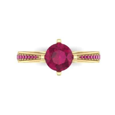 Pave Round-Cut Solitaire Ruby Engagement Ring (0.73 CTW) Top Flat View