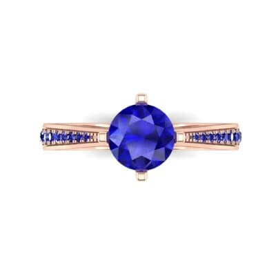 Pave Round-Cut Solitaire Blue Sapphire Engagement Ring (0.73 CTW) Top Flat View