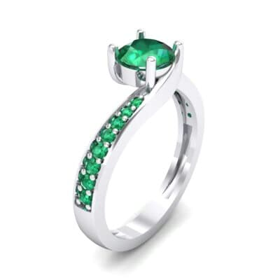 Tapered Pave Bypass Emerald Engagement Ring (0.74 CTW) Perspective View