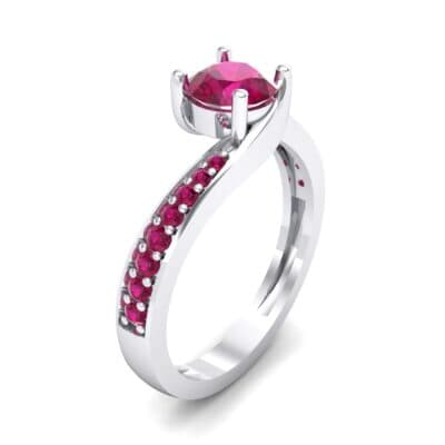 Tapered Pave Bypass Ruby Engagement Ring (0.74 CTW) Perspective View