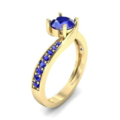 Tapered Pave Bypass Blue Sapphire Engagement Ring (0.74 CTW) Perspective View