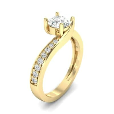 Tapered Pave Bypass Diamond Engagement Ring (0.74 CTW) Perspective View