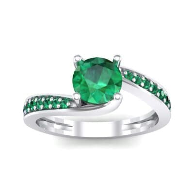 Tapered Pave Bypass Emerald Engagement Ring (0.74 CTW) Top Dynamic View