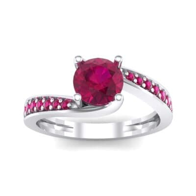 Tapered Pave Bypass Ruby Engagement Ring (0.74 CTW) Top Dynamic View