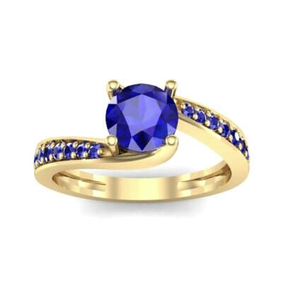 Tapered Pave Bypass Blue Sapphire Engagement Ring (0.74 CTW) Top Dynamic View